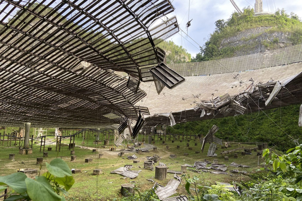 Arecibo Observatory Reflector Dish Damaged after Cable Snaps