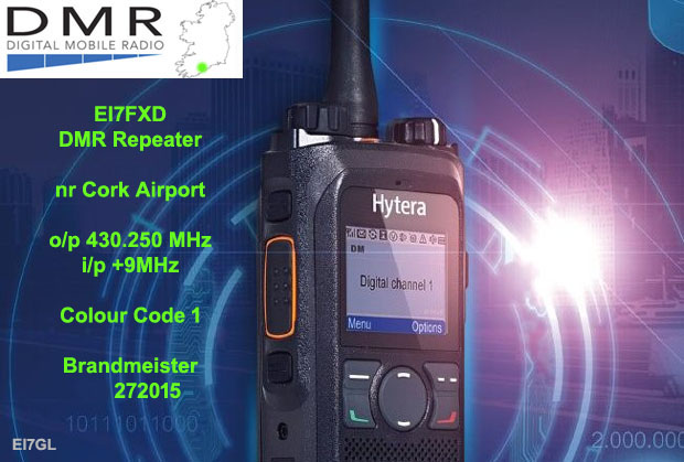 Info about EI7FXD – the new DMR repeater in Cork on 70 cms