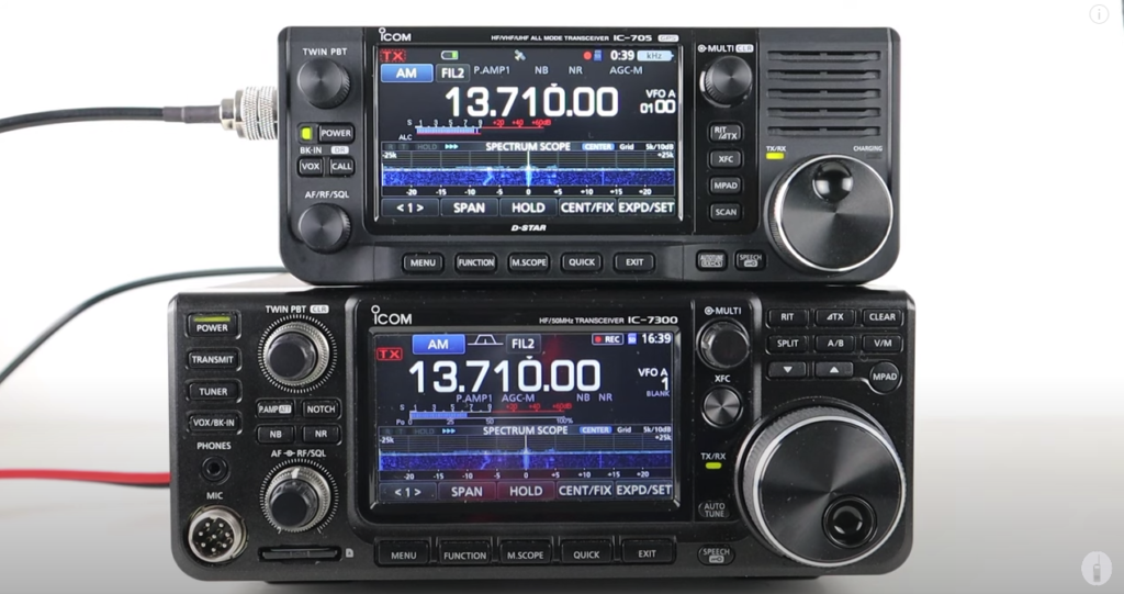 Comparing The ICOM IC-705 HF QRP & ICOM IC-7300 Transceivers
