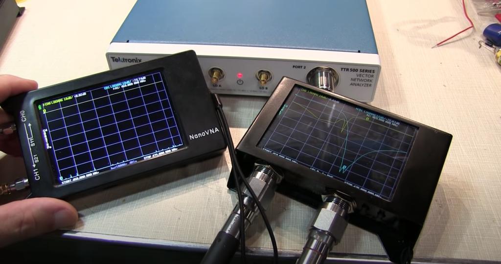 NanoVNA comparison measuring a duplexer – NanoVNA-H4 and SAA-2N