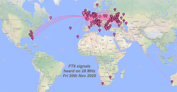 F2 opening to the USA on 28 MHz - 20th Nov 2020