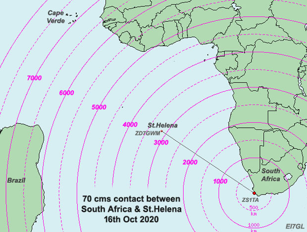 3000km plus contact made on 433 MHz from St.Helena to South Africa - 16th Oct 2020