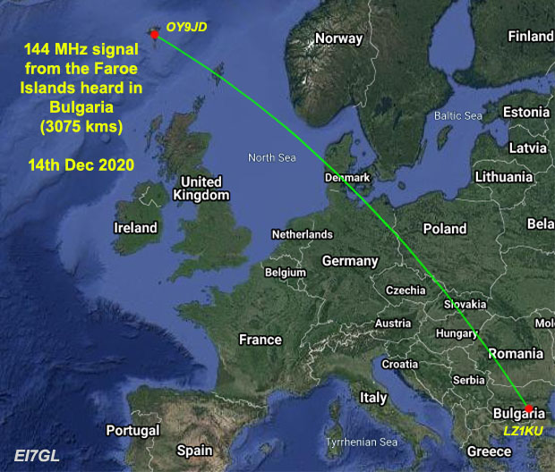 144 MHz signal from the Faroe Islands heard 3000kms away in Bulgaria during Geminid Meteor Shower
